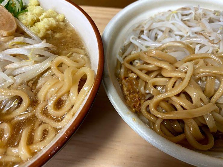 「豚園」「豚ラーメン」麺・スープの比較