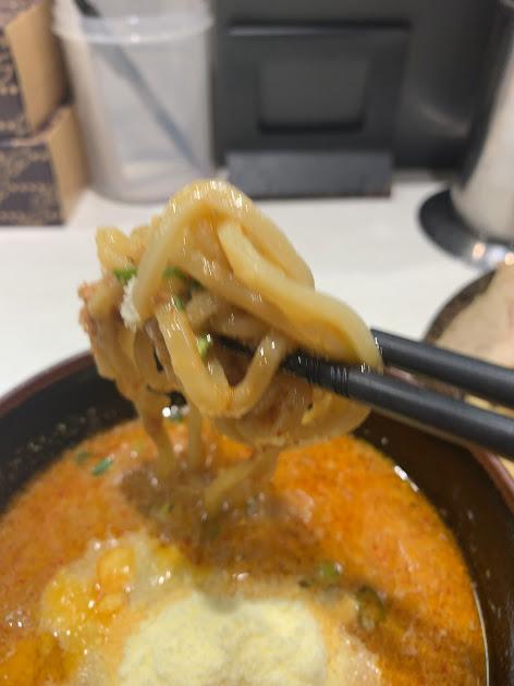 蒙古タンメン中本東池袋店で冷し肉醤麺の麺1