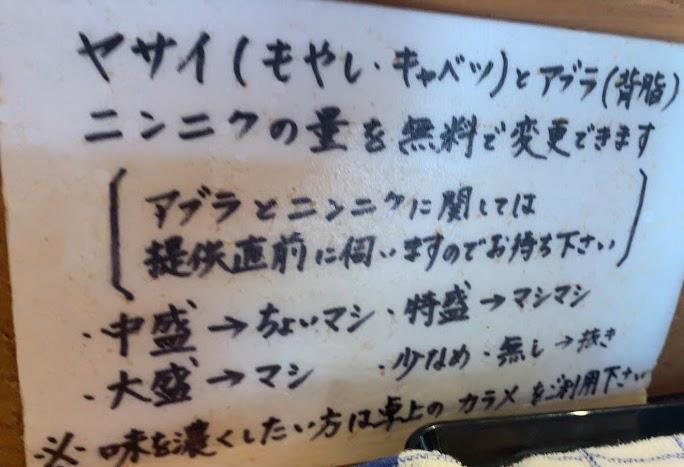 松山の二郎系『豚麺アジト』・コールの仕方