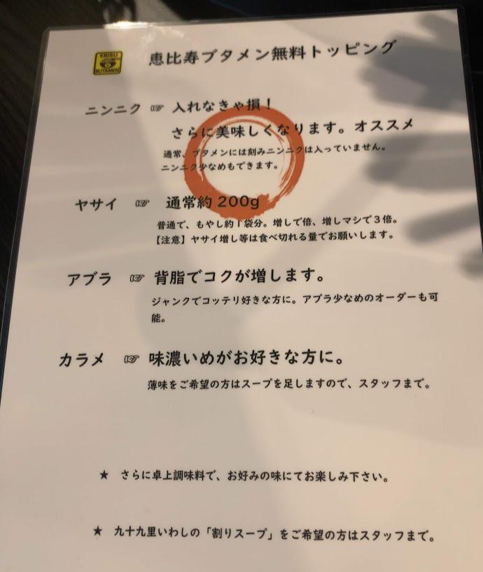 恵比寿ブタメン早稲田店でまぜそば-トッピング
